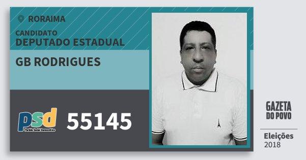 Santinho Gb Rodrigues 55145 (PSD) Deputado Estadual | Roraima | Eleições 2018