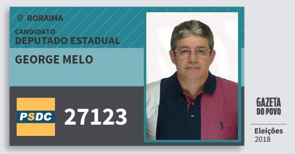 Santinho George Melo 27123 (DC) Deputado Estadual | Roraima | Eleições 2018