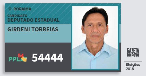 Santinho Girdeni Torreias 54444 (PPL) Deputado Estadual | Roraima | Eleições 2018
