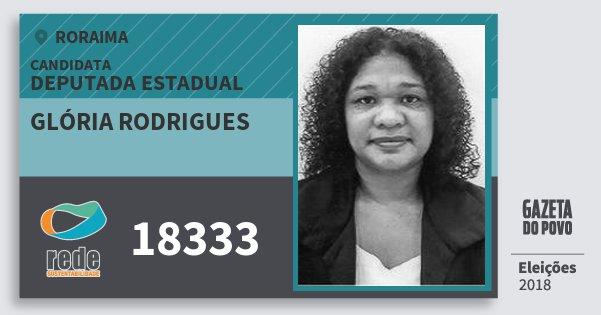 Santinho Glória Rodrigues 18333 (REDE) Deputada Estadual | Roraima | Eleições 2018