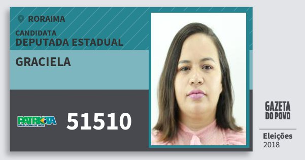 Santinho Graciela 51510 (PATRI) Deputada Estadual | Roraima | Eleições 2018