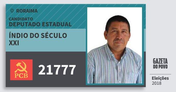Santinho Índio do Século Xxi 21777 (PCB) Deputado Estadual   Roraima   Eleições 2018