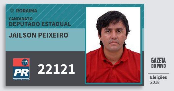 Santinho Jailson Peixeiro 22121 (PR) Deputado Estadual | Roraima | Eleições 2018