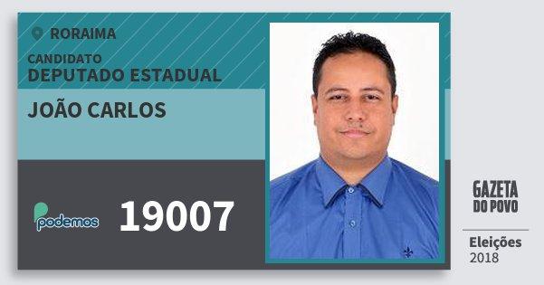 Santinho João Carlos 19007 (PODE) Deputado Estadual | Roraima | Eleições 2018