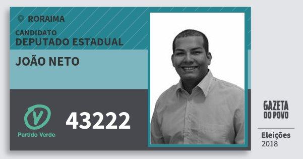 Santinho João Neto 43222 (PV) Deputado Estadual | Roraima | Eleições 2018