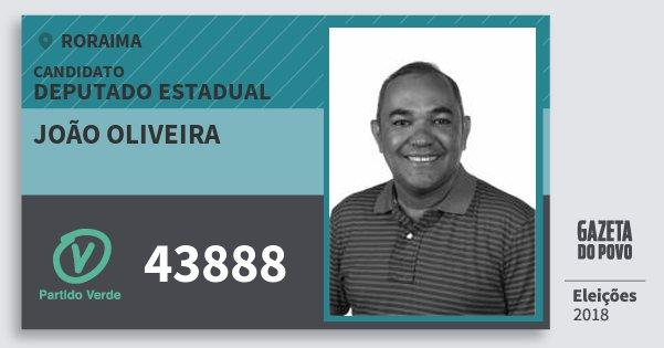 Santinho João Oliveira 43888 (PV) Deputado Estadual | Roraima | Eleições 2018