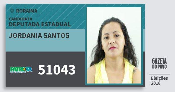 Santinho Jordania Santos 51043 (PATRI) Deputada Estadual | Roraima | Eleições 2018