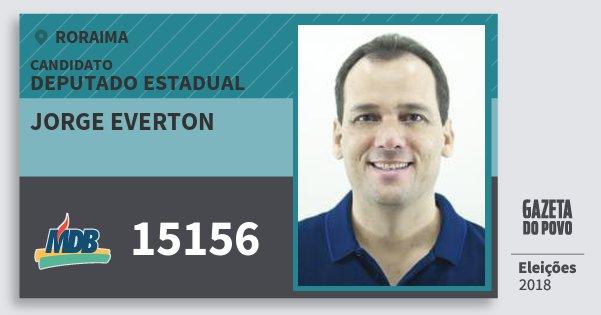 Santinho Jorge Everton 15156 (MDB) Deputado Estadual | Roraima | Eleições 2018
