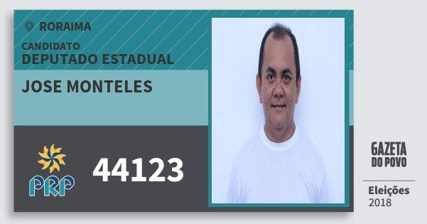 Santinho Jose Monteles 44123 (PRP) Deputado Estadual | Roraima | Eleições 2018