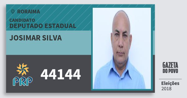 Santinho Josimar Silva 44144 (PRP) Deputado Estadual | Roraima | Eleições 2018