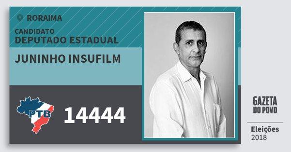 Santinho Juninho Insufilm 14444 (PTB) Deputado Estadual | Roraima | Eleições 2018