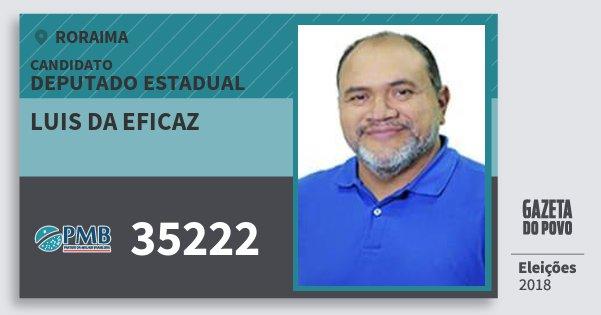Santinho Luis da Eficaz 35222 (PMB) Deputado Estadual | Roraima | Eleições 2018