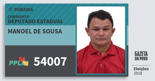 Santinho Manoel de Sousa 54007 (PPL) Deputado Estadual | Roraima | Eleições 2018