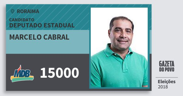 Santinho Marcelo Cabral 15000 (MDB) Deputado Estadual | Roraima | Eleições 2018