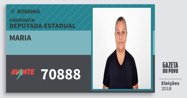 Santinho Maria 70888 (AVANTE) Deputada Estadual | Roraima | Eleições 2018