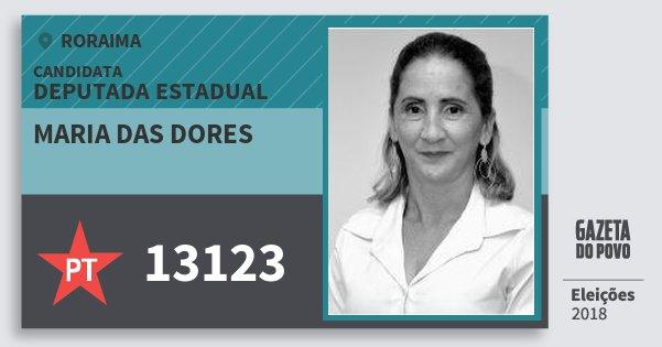 Santinho Maria das Dores 13123 (PT) Deputada Estadual | Roraima | Eleições 2018