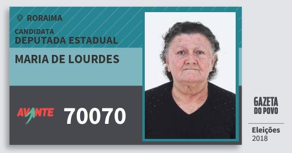 Santinho Maria de Lourdes 70070 (AVANTE) Deputada Estadual | Roraima | Eleições 2018