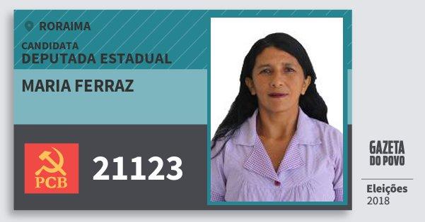 Santinho Maria Ferraz 21123 (PCB) Deputada Estadual | Roraima | Eleições 2018