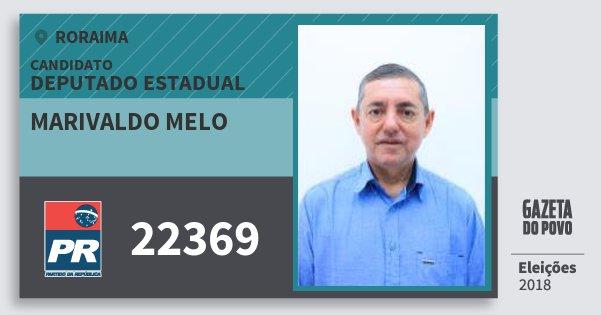 Santinho Marivaldo Melo 22369 (PR) Deputado Estadual | Roraima | Eleições 2018