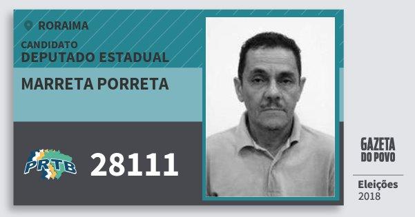 Santinho Marreta Porreta 28111 (PRTB) Deputado Estadual | Roraima | Eleições 2018