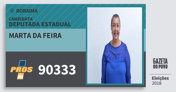 Santinho Marta da Feira 90333 (PROS) Deputada Estadual | Roraima | Eleições 2018