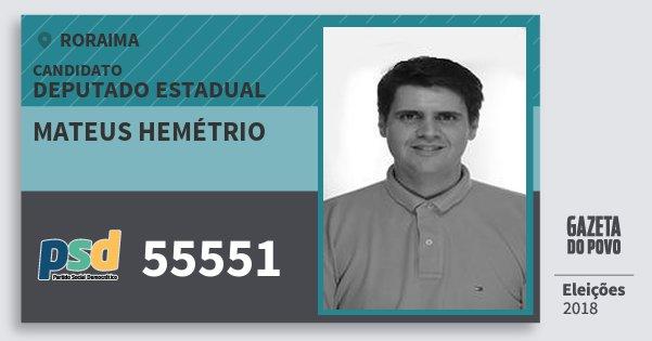Santinho Mateus Hemétrio 55551 (PSD) Deputado Estadual | Roraima | Eleições 2018