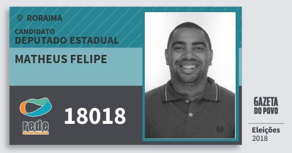 Santinho Matheus Felipe 18018 (REDE) Deputado Estadual | Roraima | Eleições 2018