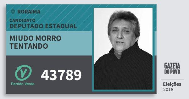 Santinho Miudo Morro Tentando 43789 (PV) Deputado Estadual | Roraima | Eleições 2018