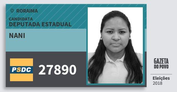 Santinho Nani 27890 (DC) Deputada Estadual | Roraima | Eleições 2018