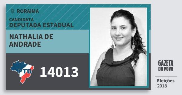 Santinho Nathalia de Andrade 14013 (PTB) Deputada Estadual | Roraima | Eleições 2018