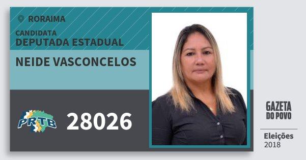 Santinho Neide Vasconcelos 28026 (PRTB) Deputada Estadual | Roraima | Eleições 2018