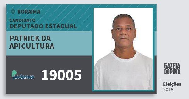 Santinho Patrick da Apicultura 19005 (PODE) Deputado Estadual | Roraima | Eleições 2018
