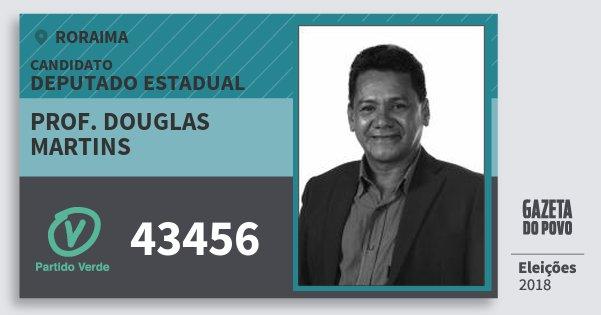 Santinho Prof. Douglas Martins 43456 (PV) Deputado Estadual | Roraima | Eleições 2018
