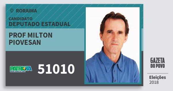 Santinho Prof Milton Piovesan 51010 (PATRI) Deputado Estadual | Roraima | Eleições 2018