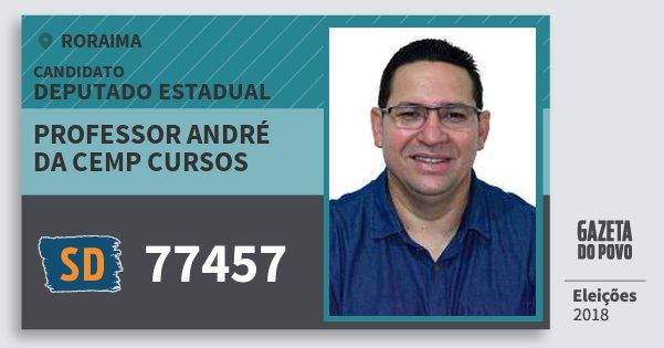 Santinho Professor André da Cemp Cursos 77457 (SOLIDARIEDADE) Deputado Estadual | Roraima | Eleições 2018