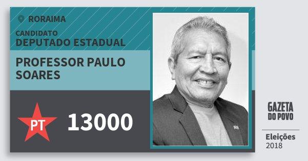 Santinho Professor Paulo Soares 13000 (PT) Deputado Estadual | Roraima | Eleições 2018