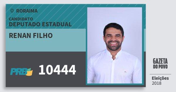 Santinho Renan Filho 10444 (PRB) Deputado Estadual   Roraima   Eleições 2018