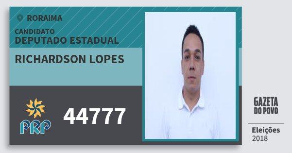 Santinho Richardson Lopes 44777 (PRP) Deputado Estadual | Roraima | Eleições 2018
