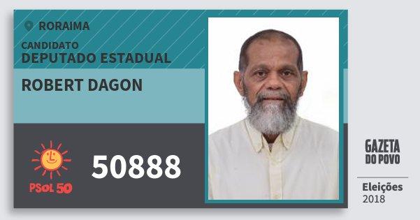 Santinho Robert Dagon 50888 (PSOL) Deputado Estadual   Roraima   Eleições 2018