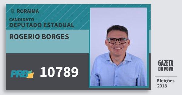 Santinho Rogerio Borges 10789 (PRB) Deputado Estadual | Roraima | Eleições 2018
