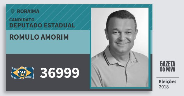Santinho Romulo Amorim 36999 (PTC) Deputado Estadual | Roraima | Eleições 2018