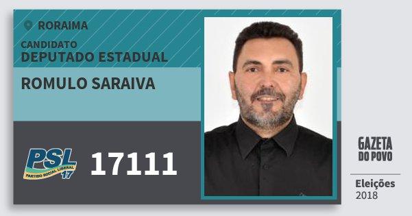 Santinho Romulo Saraiva 17111 (PSL) Deputado Estadual | Roraima | Eleições 2018