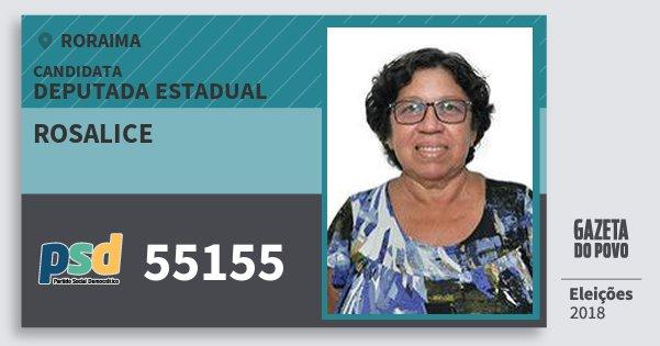 Santinho Rosalice 55155 (PSD) Deputada Estadual | Roraima | Eleições 2018