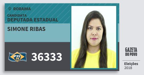 Santinho Simone Ribas 36333 (PTC) Deputada Estadual | Roraima | Eleições 2018