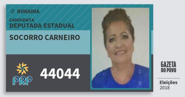 Santinho Socorro Carneiro 44044 (PRP) Deputada Estadual | Roraima | Eleições 2018