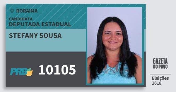 Santinho Stefany Sousa 10105 (PRB) Deputada Estadual | Roraima | Eleições 2018