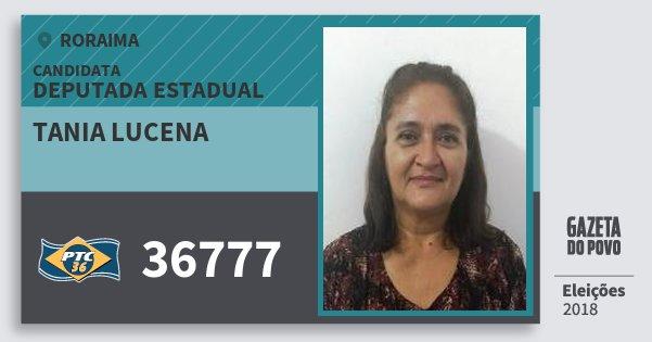 Santinho Tania Lucena 36777 (PTC) Deputada Estadual | Roraima | Eleições 2018