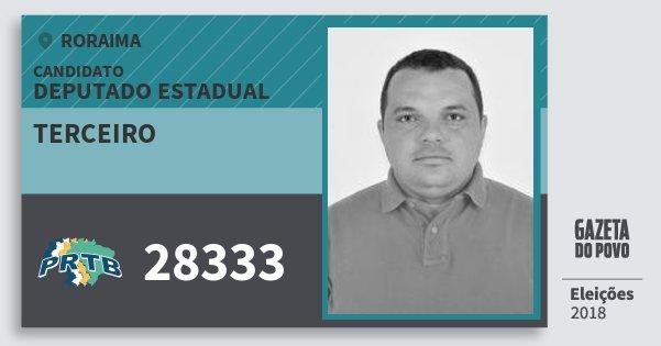 Santinho Terceiro 28333 (PRTB) Deputado Estadual | Roraima | Eleições 2018