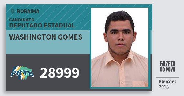 Santinho Washington Gomes 28999 (PRTB) Deputado Estadual | Roraima | Eleições 2018