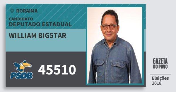 Santinho William Bigstar 45510 (PSDB) Deputado Estadual | Roraima | Eleições 2018